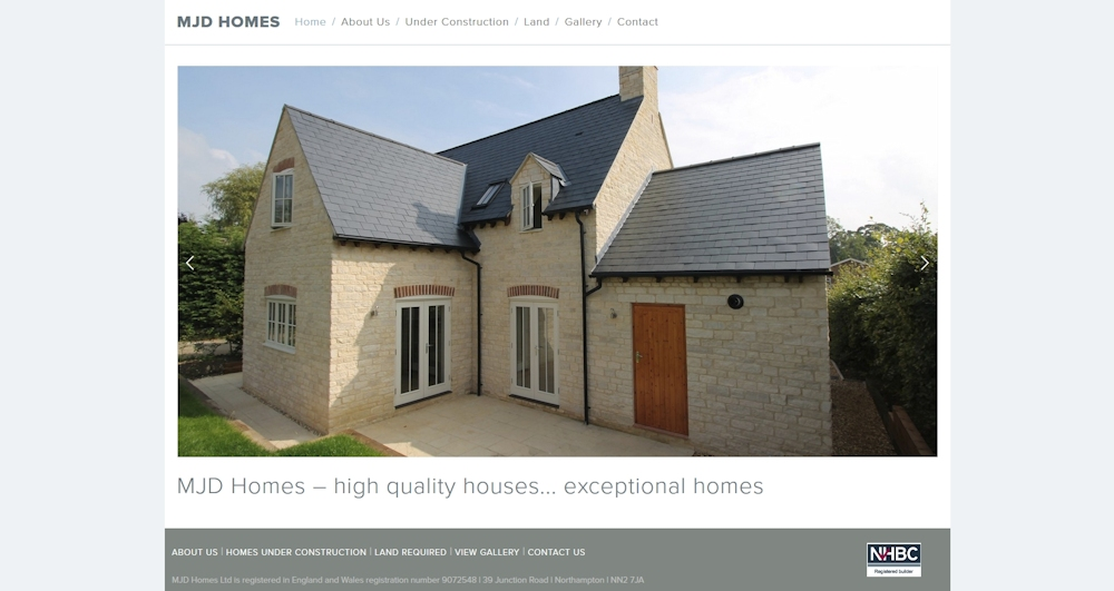 MJD Homes website using Squarespace