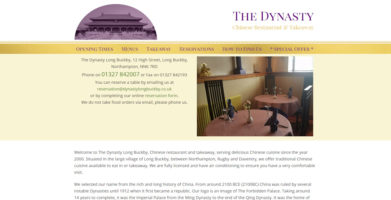 Website for The Dynasty Chinese Restaurant